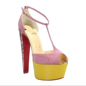 Christian Louboutin Suede Glitter Platform Heels